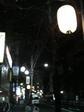 提灯が灯った早稲田駅前の歩道